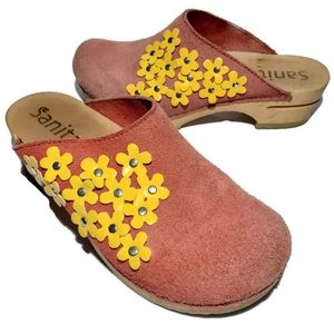 Sanita Womens US 6 Mules Shoes Floral Applique